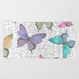 Butterflies  (white) Beach Towel