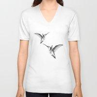 flight V-neck T-shirts featuring Flight by Libby Watkins Illustration