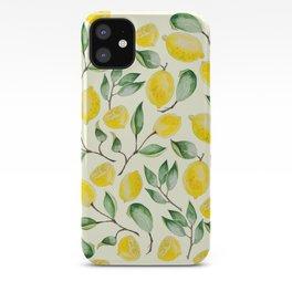Watercolor Lemon Pattern iPhone Case