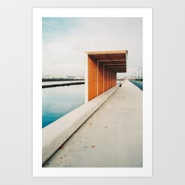 modern wooden bus stop in the salt flats near Tavira, Portugal | Photo Print, Travel Photography Europe Art Print