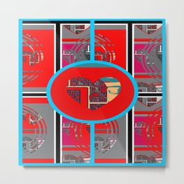 heart panel (red and aqua) Metal Print
