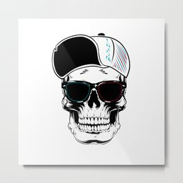 White Art Stylish Skull Metal Print