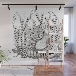 Zentangle Nautilus in the Ocean Illustration Wall Mural