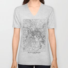 Pittsburgh White Map Unisex V-Neck