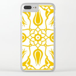 Yellow Turkish Traditional Floral Tile Art Clear iPhone Case