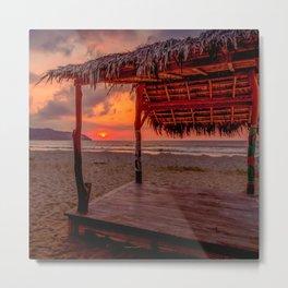 Sunset Tiki Hut a Pacific Dream Metal Print