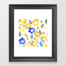 Yellow and Blue Flowers Framed Art Print