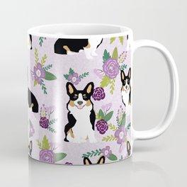 Tricolored Corgi Floral print - feminine blue purpl florals dogs, dog lover, dog mom, tri corgi cute Coffee Mug