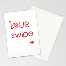Love At Swipe Right Funny Online Dating Stationery Cards