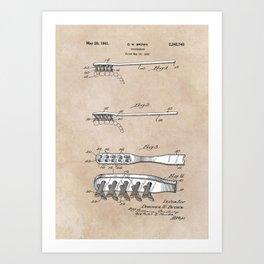 patent art Brown Toothbrush 1939 Art Print