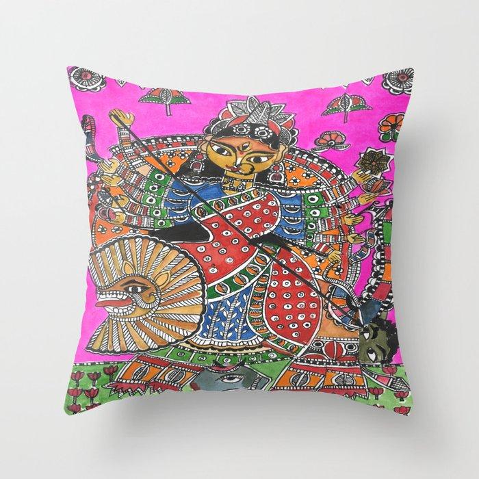 Madhubani - Pink Durga Throw Pillow