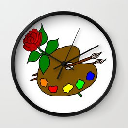 Rose And Art Pallet Wall Clock