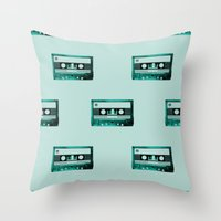 cassette Throw Pillows featuring cassette by Ginger Pigg Art & Design