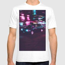 Japanese Taxi Long Exposure  Neon Cyberpunk Aesthetic T-shirt