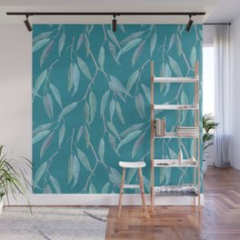 Eucalyptus leaves on bright blue Wall Mural