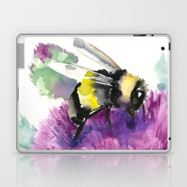 Bumblebee and Thistle Flower, honey bee floral Laptop & iPad Skin