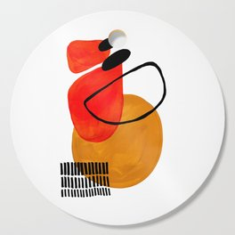 Mid Century Modern Abstract Vintage Pop Art Space Age Pattern Orange Yellow Black Orbit Accent Cutting Board