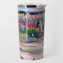 Chincoteague Pony, a colorful landscape of a wild horse in the dunes on the beach in Virginia. Travel Mug