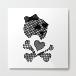 Skull Lace  - Crossbones Heart Illustration Metal Print