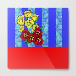 Blue and Red Floral pattern Metal Print