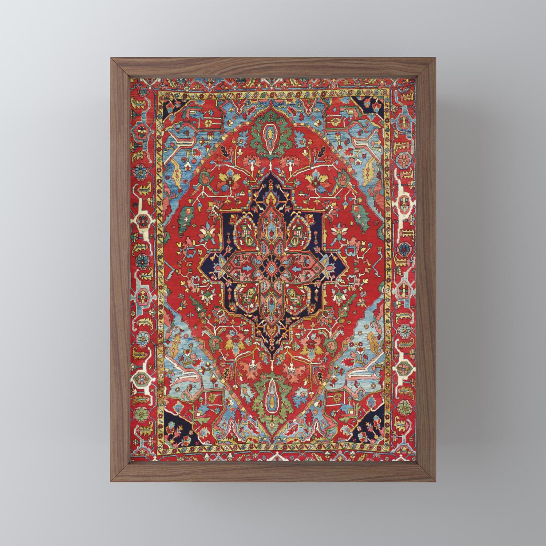 Heriz Antique Persian Rug Print Framed Mini Art Print By Vickybragomitchell