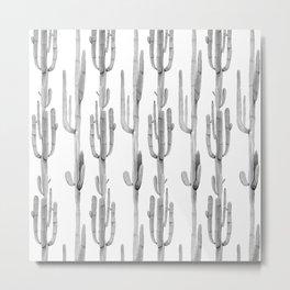 Cactus Climb Black and White Metal Print