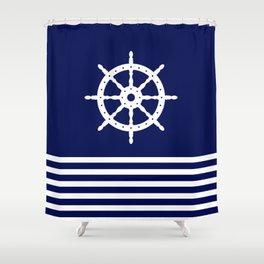 AFE Navy & White Helm Wheel Shower Curtain