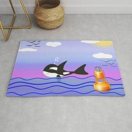 Happy Orca in the Ocean Rug