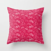 bicycles Throw Pillows featuring Bicycles by Kippy