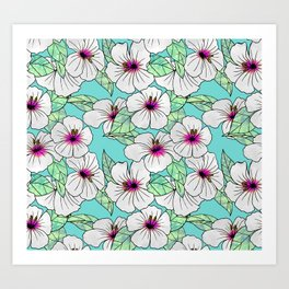 Pink & White Tropical Hibiscus Floral Pattern Art Print