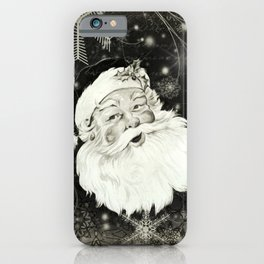 Vintage Santa Claus with snowflakes iPhone Case