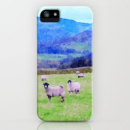 Nosy Sheep at Borrowdale, Lake District, UK Watercolor Painting iPhone Case