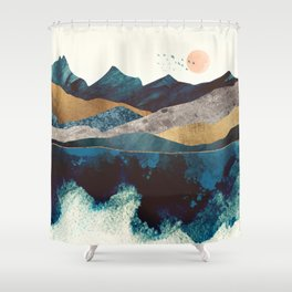 Blue Mountain Reflection Shower Curtain