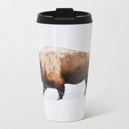 Buffalo In The Snow Metal Travel Mug