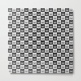 Black and White Skull and Crossbones Check Pattern Metal Print
