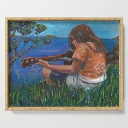 Playing ukulele Serving Tray