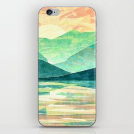 Spring Sunset over Emerald Mountain Landscape Painting iPhone Skin