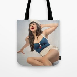 """Hey, Sailor!"" - The Playful Pinup - Nautical Sailor Girl Pin-up by Maxwell H. Johnson Tote Bag"
