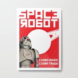 Retro Soviet minimalism spacerobot   Metal Print