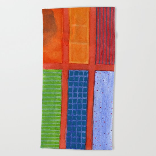 Large rectangle Fields between red Grid Beach Towel