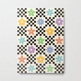 Retro Colorful Flower Double Checker Metal Print