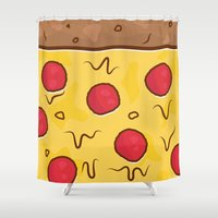 pizza Shower Curtains featuring Pizza by Michael Walchalk