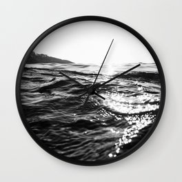 Fistral Sea Surface monochrome Wall Clock