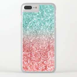 Summer Vibes Glitter #2 #coral #mint #shiny #decor #society6 Clear iPhone Case