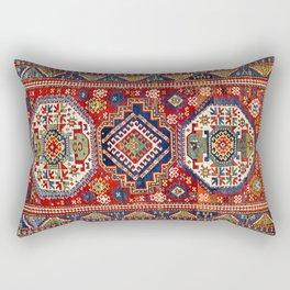 Three Medallion Kazak Southwest Caucasus Carpet Print Rectangular Pillow