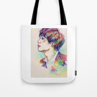 shinee Tote Bags featuring Colorful SHINee Taemin  by sophillustration