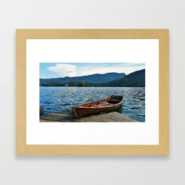 Wooden Boat on Lake Bled Framed Art Print