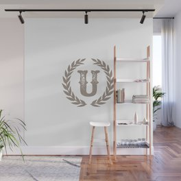 Beige Monogram: Letter U Wall Mural