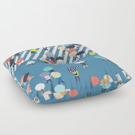 Crossing The Street On a Rainy Day - Blue Floor Pillow