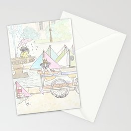 Boston Terrier and Sailboats in Paris Fountain Stationery Cards